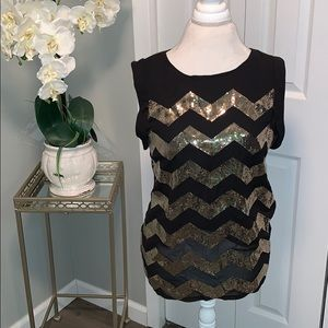 ffd56ec26beb5 Vince Camuto black gold sequin blouse